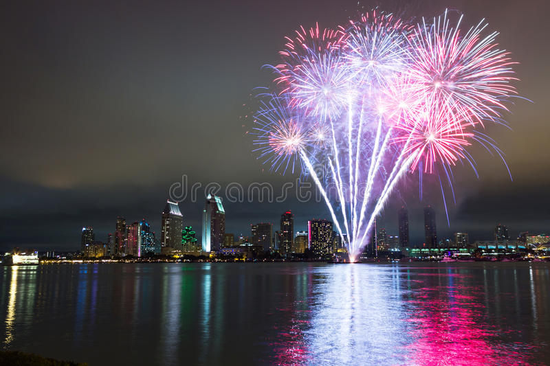 San Diego 4th of July fireworks royalty free stock image