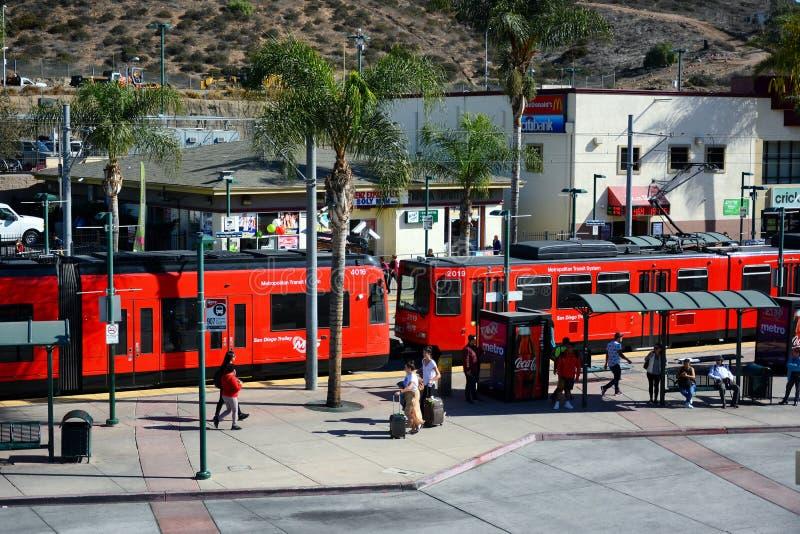 San Diego Trolley SDTI is a light rail system serving the metropolitan San Diego Area. SAN YSIDRO, CALIFORNIA - NOVEMBER 26, 2018: San Diego Trolley SDTI is a royalty free stock photography