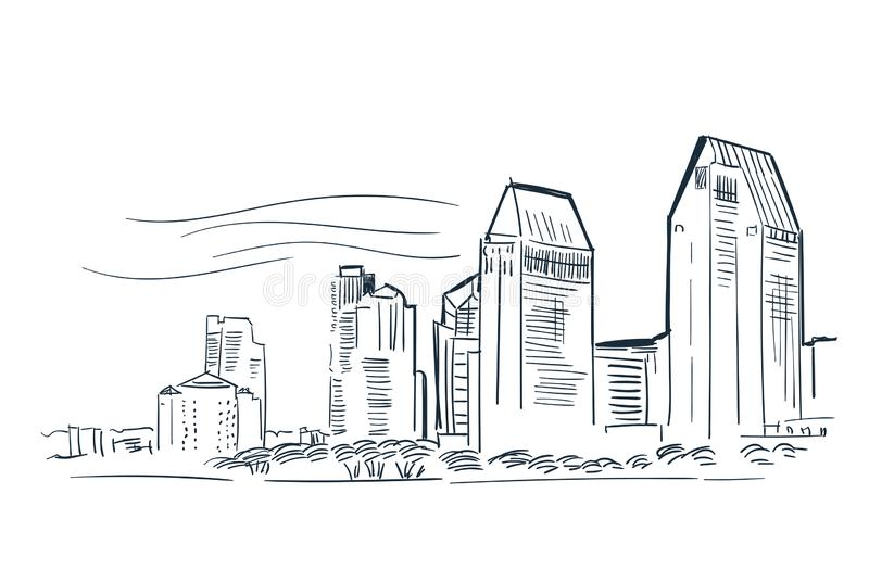 San Diego USA city vector sketch landscape line illustration skyline royalty free illustration