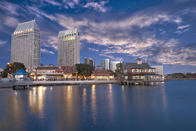 San Diego waterfront. San Diego water front at dusk royalty free stock photos