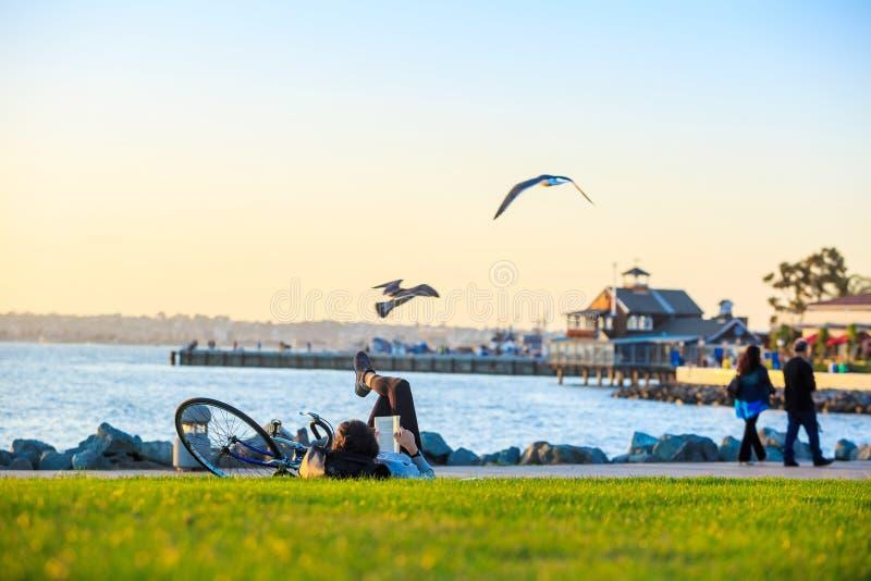 San Diego Waterfront Public Park, puerto deportivo y el San Diego Skyli imagen de archivo libre de regalías