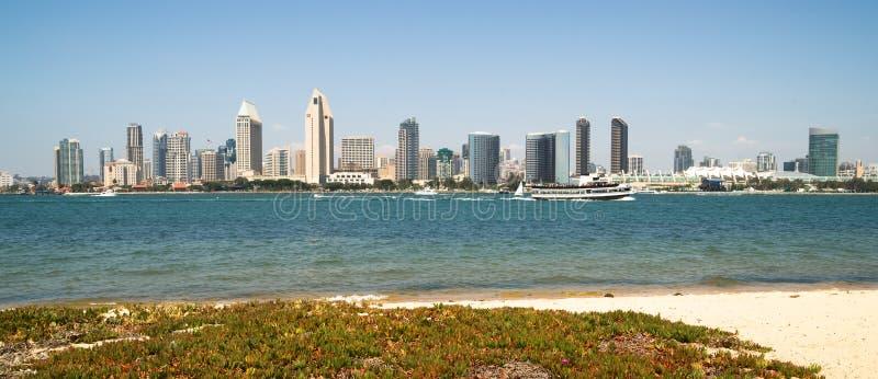 San Diego zatoki miasta linii horyzontu W centrum nabrzeże obrazy stock