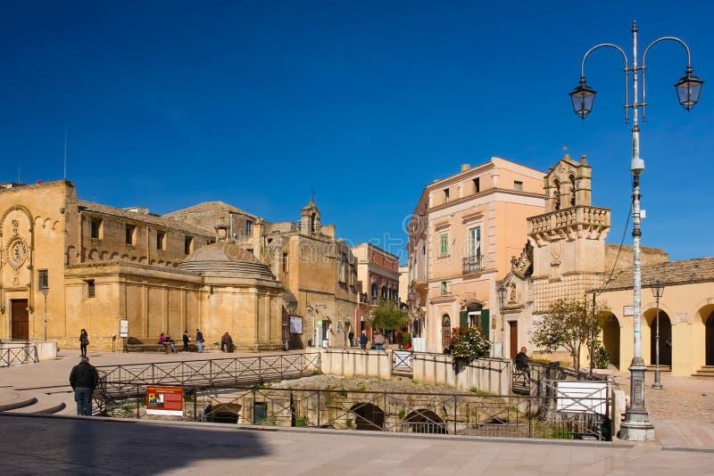 Piazza Vittorio Veneto. Matera. Basilicata. Apulia or Puglia. Italy royalty free stock images
