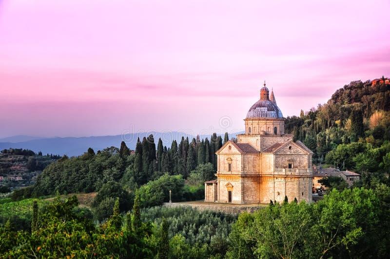 san för montepulciano för biagio domkyrkaita solnedgång royaltyfri foto