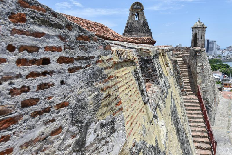 San Felipe Barajas Castle em Cartagena, Colômbia fotografia de stock royalty free