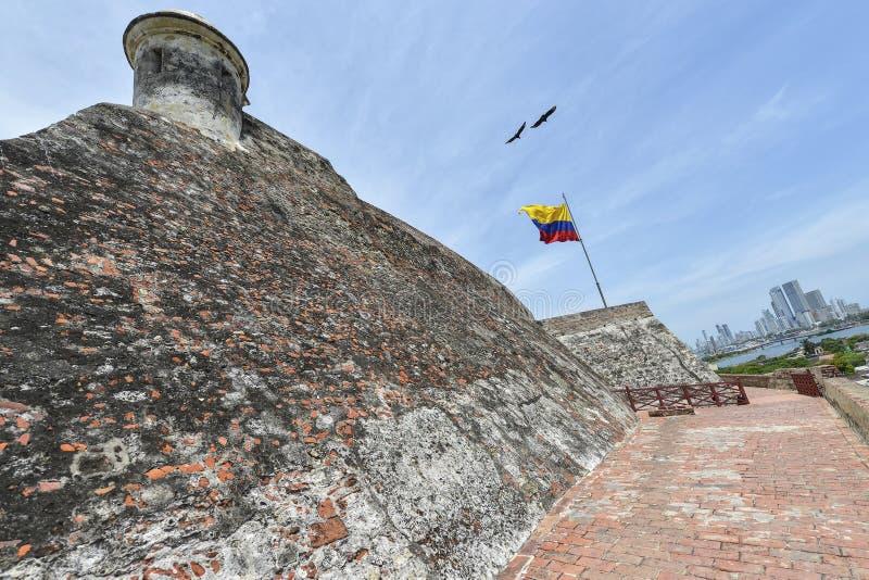 San Felipe Barajas Castle em Cartagena, Colômbia imagens de stock