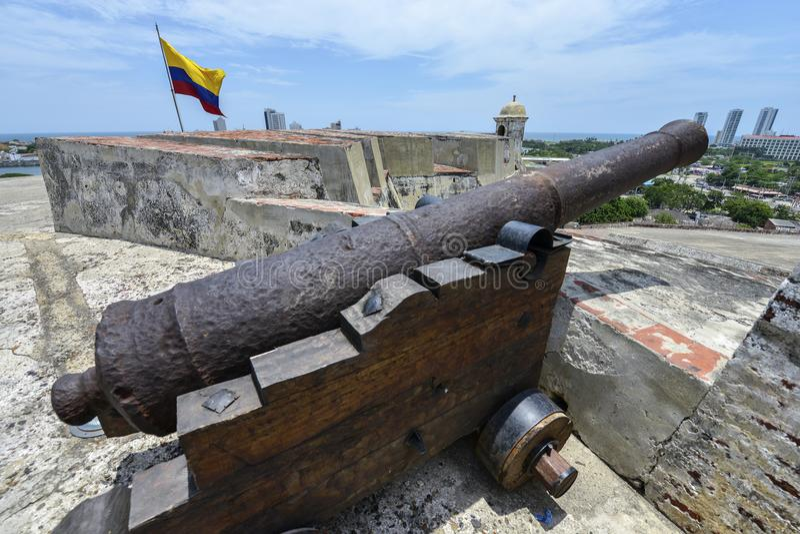San Felipe Barajas Castle em Cartagena, Colômbia fotos de stock royalty free