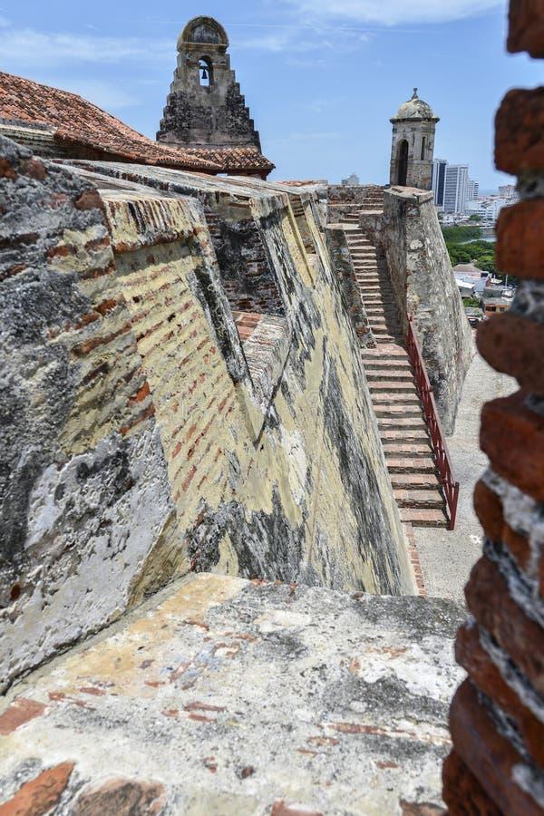 San Felipe Barajas Castle em Cartagena, Colômbia imagens de stock royalty free