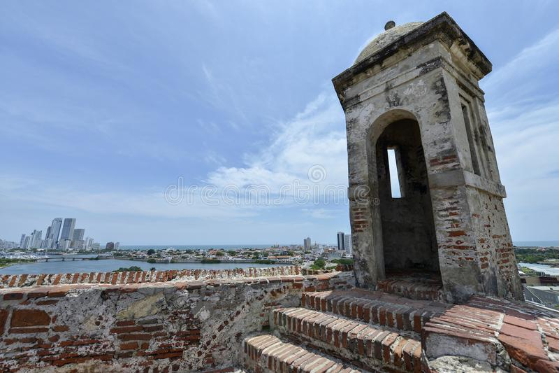 San Felipe Barajas Castle em Cartagena, Colômbia fotografia de stock