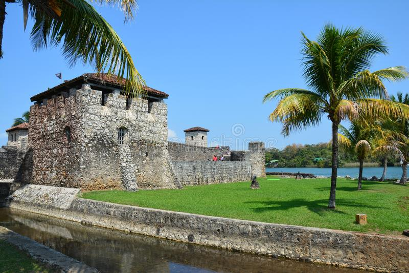 San Felipe Castle on the shores of Rio Dulce Guatemala royalty free stock image