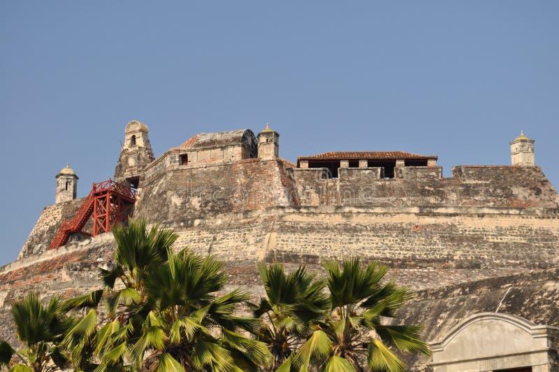 San Felipe de Barajas Castle - Cartagena Colombia royaltyfri bild