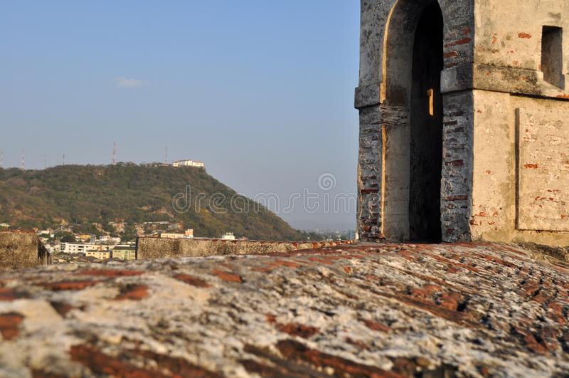 San Felipe de Barajas Castle - Cartagena Colombia arkivbild