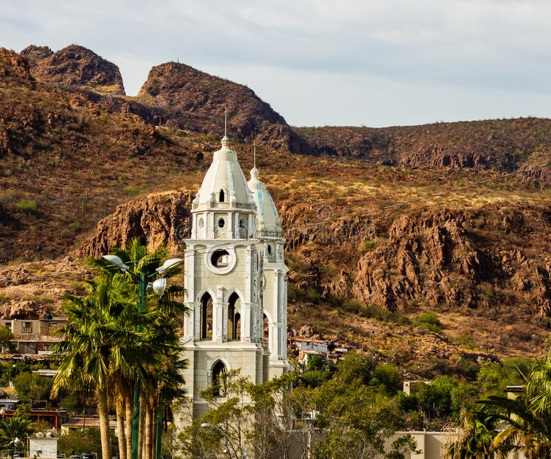 San Fernando Cathedral in Mexico. The cathedral is the oldest in Guaymas city.  royalty free stock photography