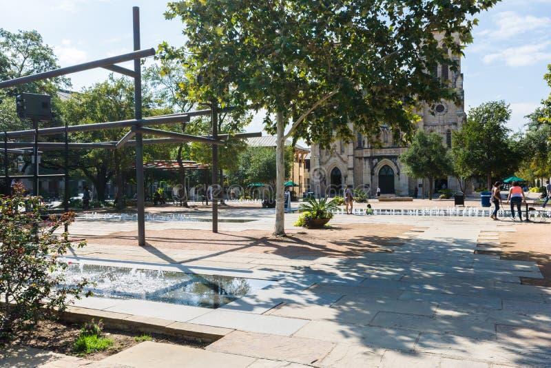San Fernando katedra w Głównym placu Obok Rzecznego spaceru w San A obraz royalty free
