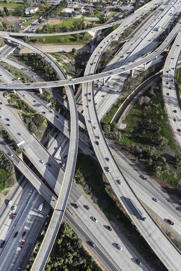 San Fernando Valley Freeway Bridges Aerial California. Vertical aerial view of Interstate 5 and Route 118 freeway ramps and bridges in the San Fernando Valley royalty free stock photos