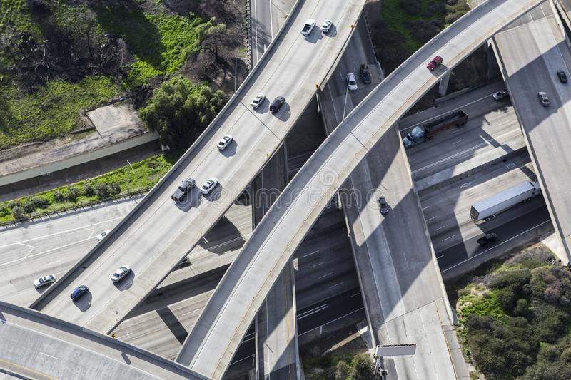 San Fernando Valley Freeway Ramps Aerial Los Angeles. Aerial view of Interstate 5 and Route 118 freeway interchange ramps in the San Fernando Valley area of Los royalty free stock image