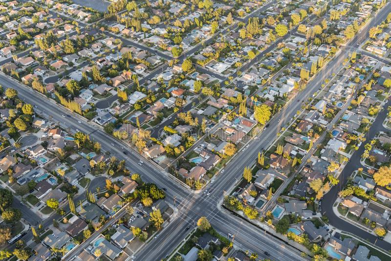 San Fernando Valley Homes Los Angeles California Aerial. Aerial view of streets and homes near Lassen St and Winnetka Ave in the San Fernando Valley region of royalty free stock images