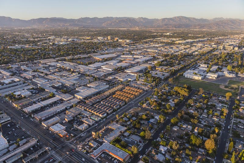 San Fernando Valley Late Afternoon Aerial arkivbild