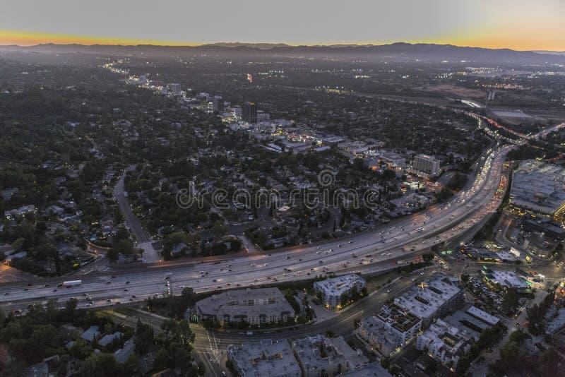 San Fernando Valley Night Aerial stockbilder