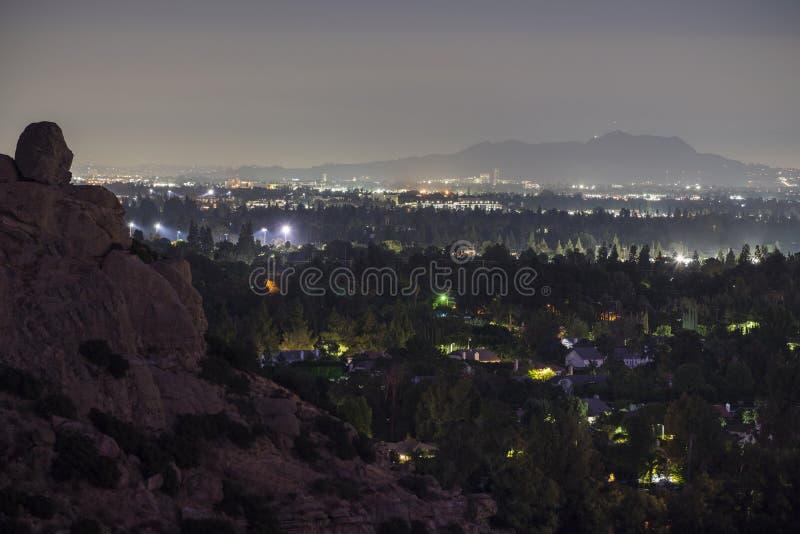 San Fernando Valley Night View Los Angeles California. Night view of the San Fernando Valley and Stoney Point Park and in Los Angeles, California stock photography