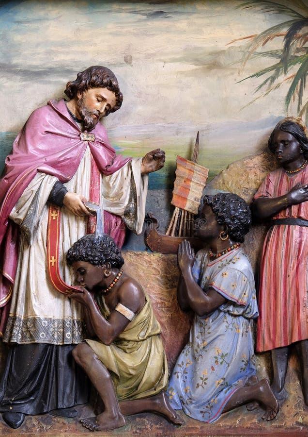 San Francis Xavier, pala nella basilica del cuore sacro di Gesù a Zagabria fotografia stock libera da diritti