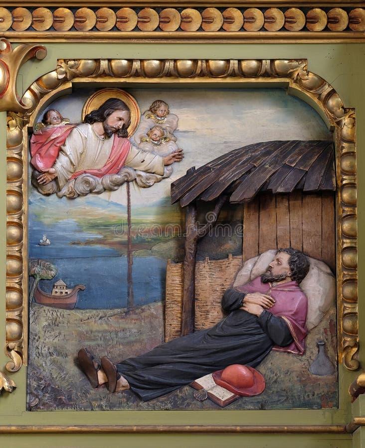 San Francis Xavier, pala nella basilica del cuore sacro di Gesù a Zagabria immagini stock libere da diritti
