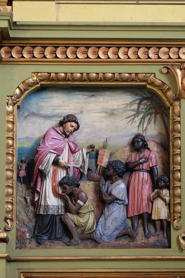 San Francis Xavier, pala nella basilica del cuore sacro di Ges? a Zagabria immagine stock libera da diritti