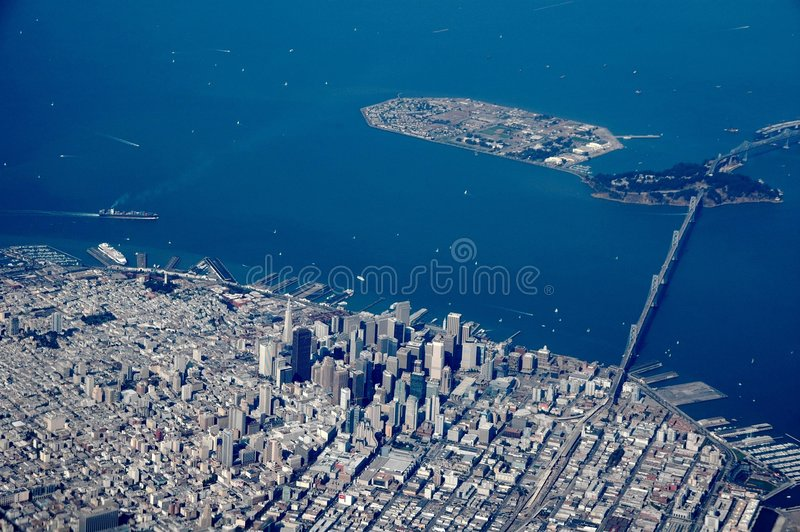 San francisco. View on san francisco out of a plane stock images