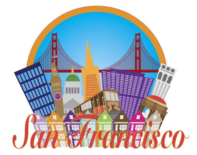 San Francisco Abstract Skyline Golden Gate Bridge stock illustration