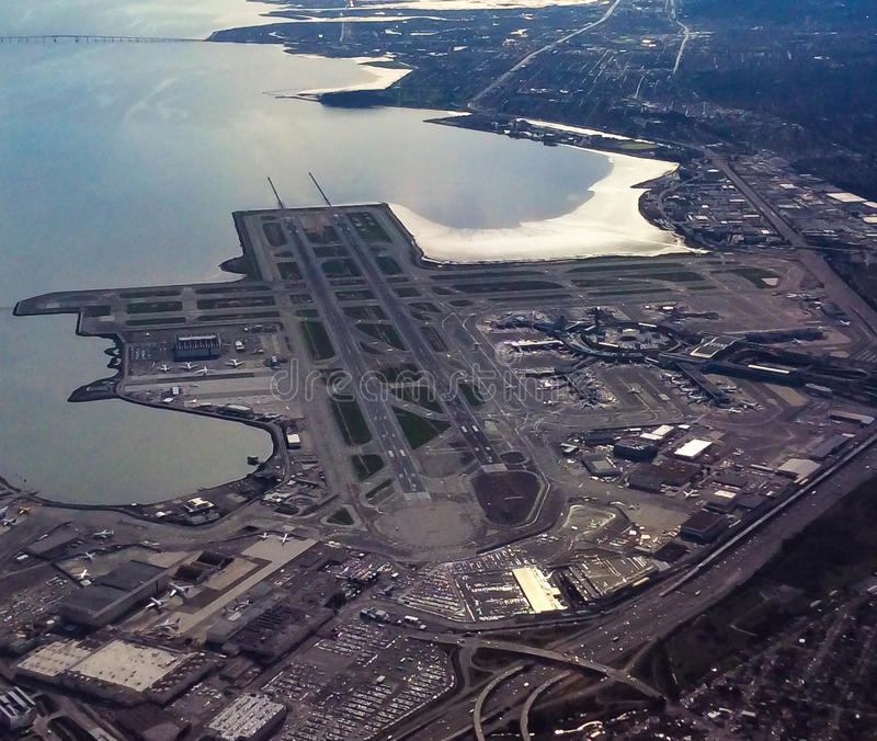 San Francisco Airport Aerial View stock foto's