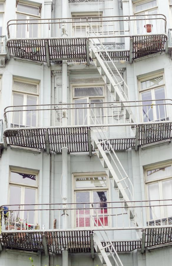 San Francisco architecture. Exterior detail of victorian architecture house in San Francisco, California, United States of America. A view of the window balcony stock images
