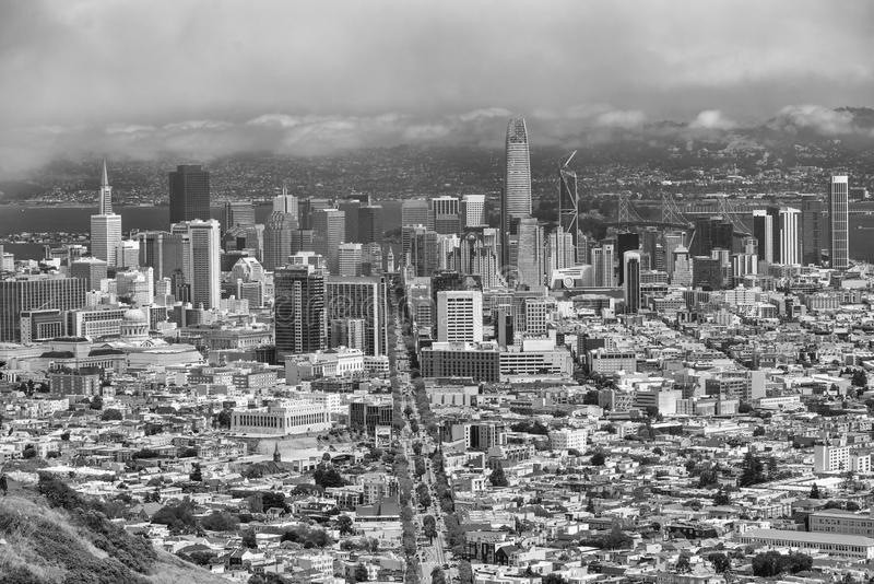 SAN FRANCISCO - AUGUST 2017: Aerial view of San Francisco skyline on a beautiful sunny summer day. The city attracts 20 million p stock image
