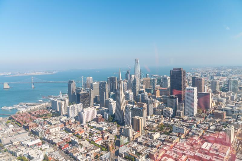 SAN FRANCISCO - AUGUST 2017: Aerial view of San Francisco skyline on a beautiful sunny summer day. The city attracts 20 million t stock photo