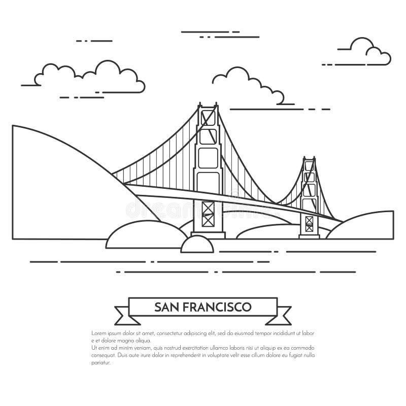 San Francisco banner with famous bridge Golden Gate Line art. San Francisco banner. City landscape with famous bridge Golden Gate. Vector illustration. Line art vector illustration