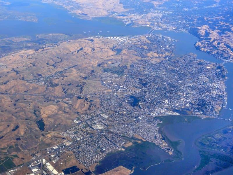 San Francisco Bay aerial view royalty free stock photo