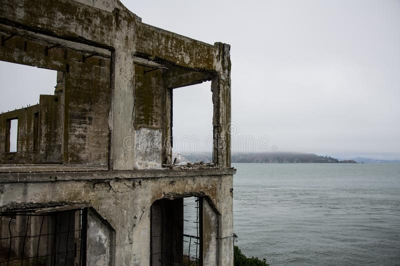 San Francisco Bay from Alcatraz island prison, California, United States stock image