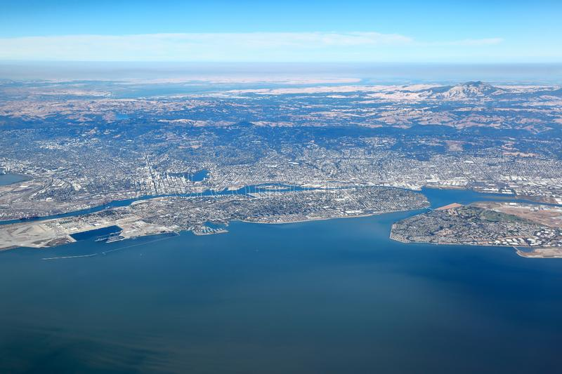 San Francisco Bay Area: Aerial View of east bay region royalty free stock photos