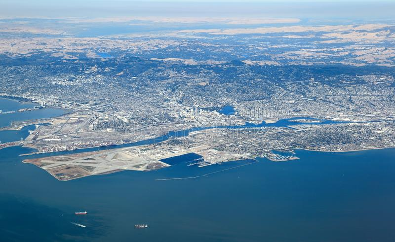 San Francisco Bay Area: Aerial View of east bay region royalty free stock image
