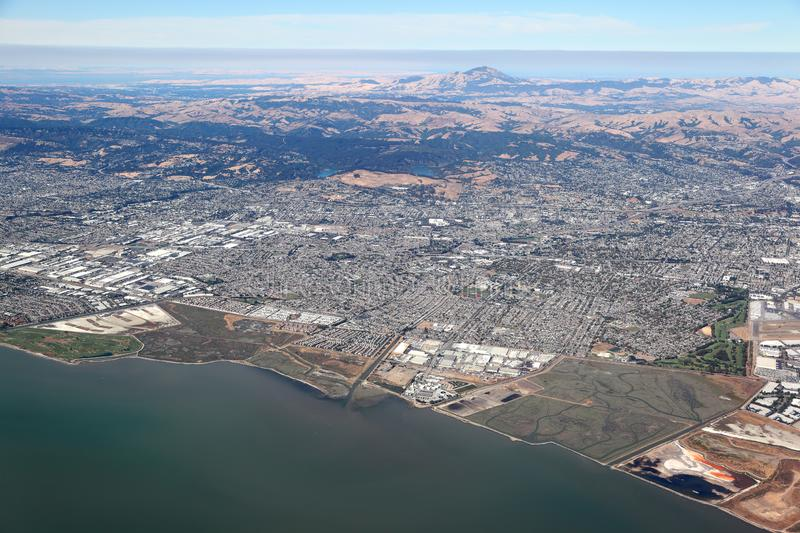 San Francisco Bay Area: Aerial view looking towards the east stock photography