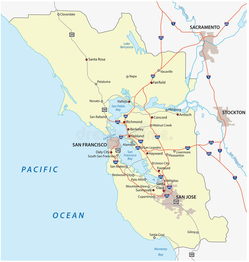 San francisco bay area. Map of the Northern California region San Francisco Bay Area stock illustration