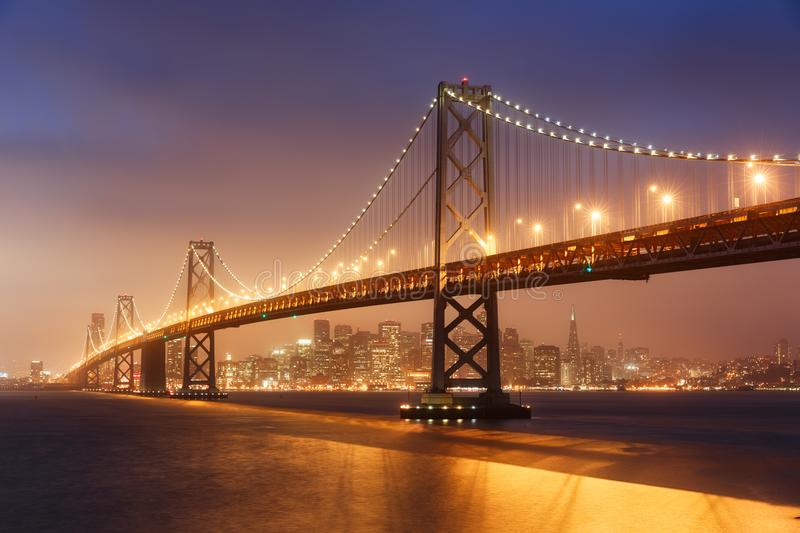 San Francisco Bay Bridge. At night stock photo