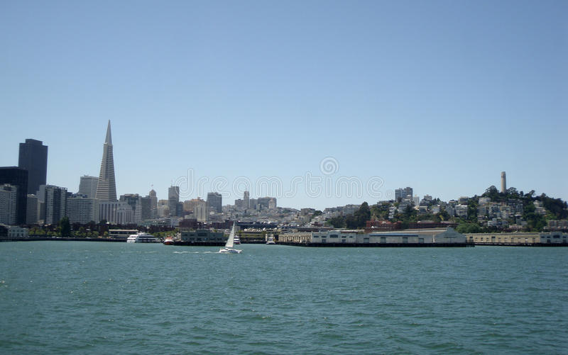 San Francisco Bay With The Frisco Skyline Royalty Free Stock Images