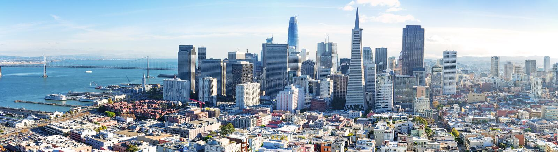 San Francisco bay skyline panorama royalty free stock photos