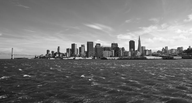 San Francisco Bay with Windy Waves Black and White stock image