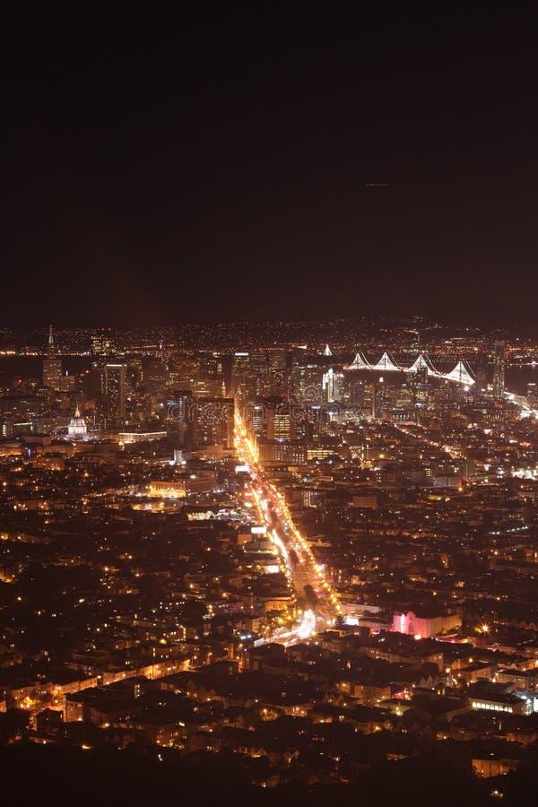 San Francisco bij nacht stock afbeeldingen