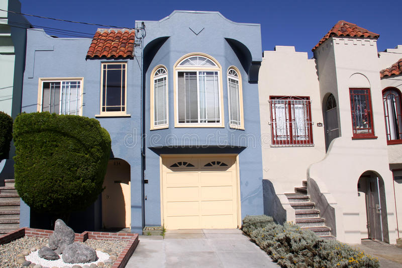 San Francisco Blue House Facade royalty free stock images