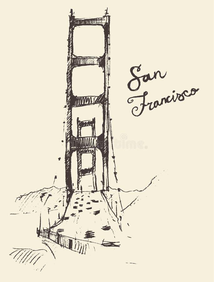 San Francisco Bridge Vintage Engraved Illustration ilustração stock
