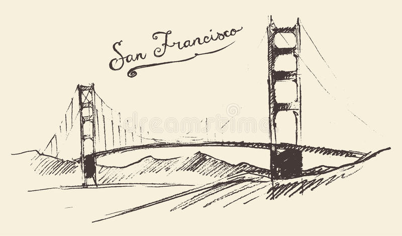 San Francisco Bridge Vintage Engraved Illustration illustrazione vettoriale