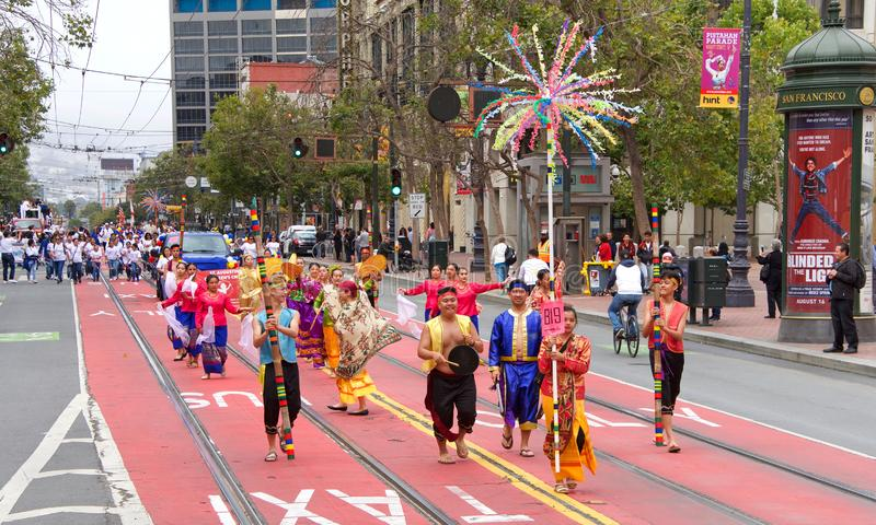 26th annual Pistahan Parade in Downtown San Francisco royalty free stock photography