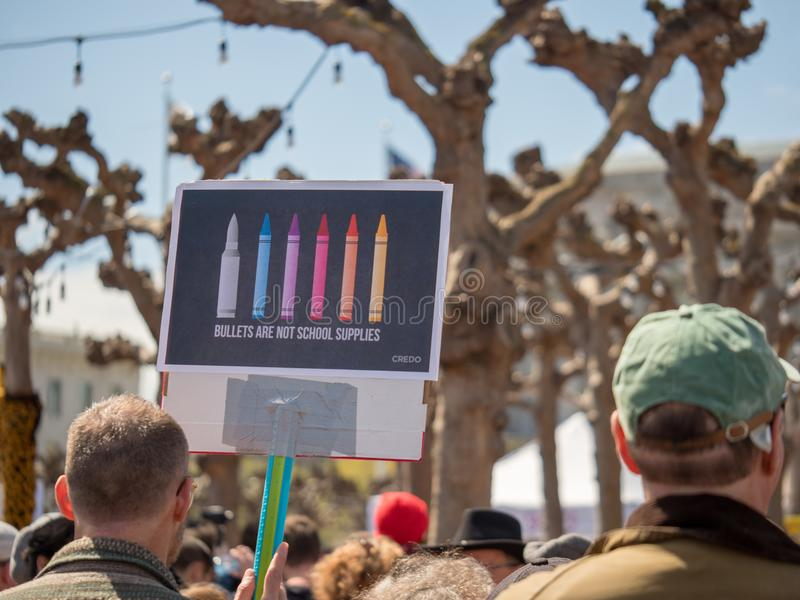 School supplies sign at March for Our Lives rally in San Francis stock images